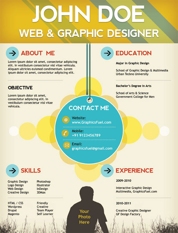 free cv resume templates html psd indesign web graphic - Resume Sample With Design