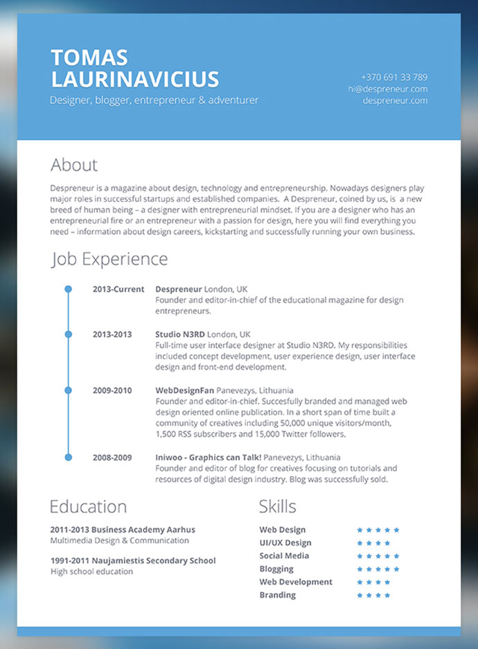 minimal resume psd - Contemporary Resume Templates Free