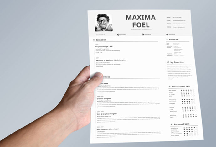 single page resume 5 - Html Resume Template Free