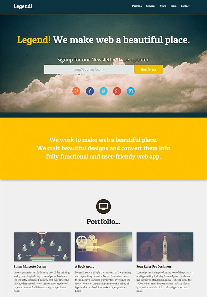one page website template free - 15 free one page html psd website templates web