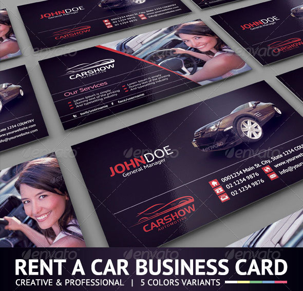 56 visually stunning psd business card templates web graphic rent a car rent a car business card wajeb Choice Image