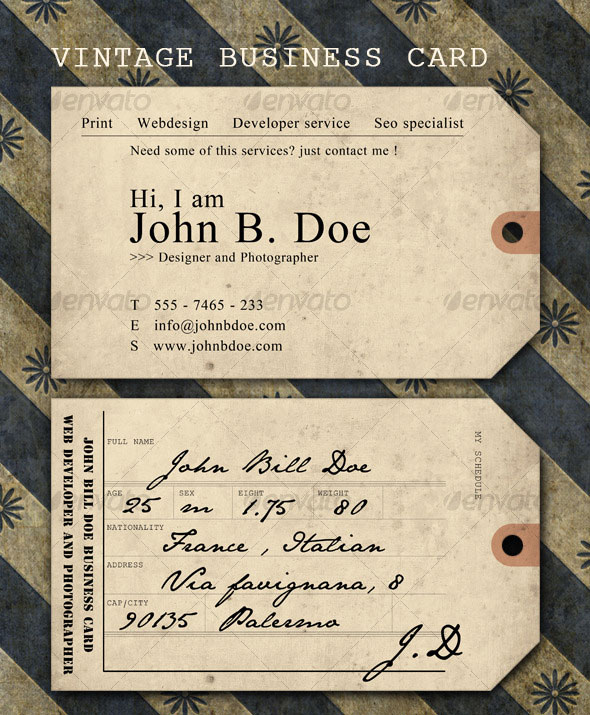 Vintage ticket Business Card