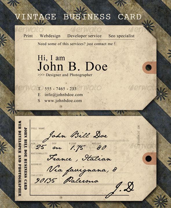 Vintage ticket Business Card