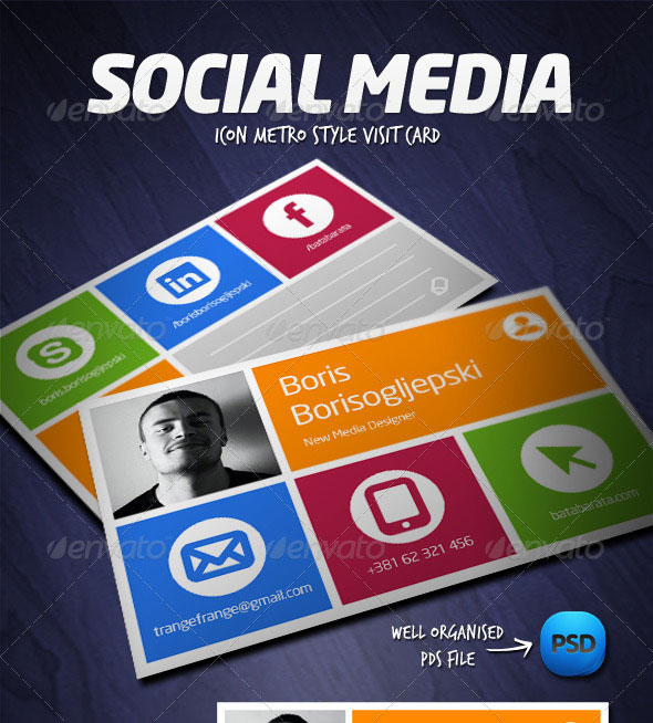 Visually Stunning PSD Business Card Templates Web Graphic - Social media business card template free