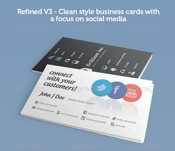 Refined V3 : Social Media Business Cards