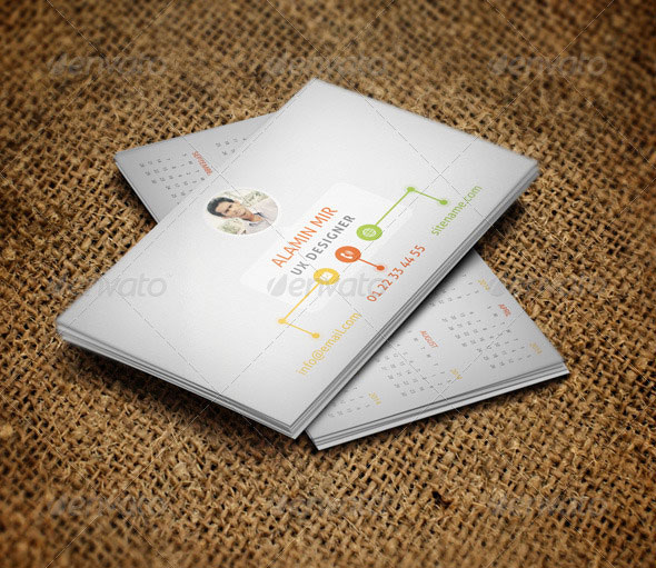 56 visually stunning psd business card templates web graphic business card with 2014 calendar reheart Image collections