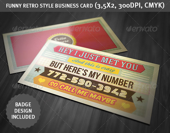 Funny Retro Style Business Card