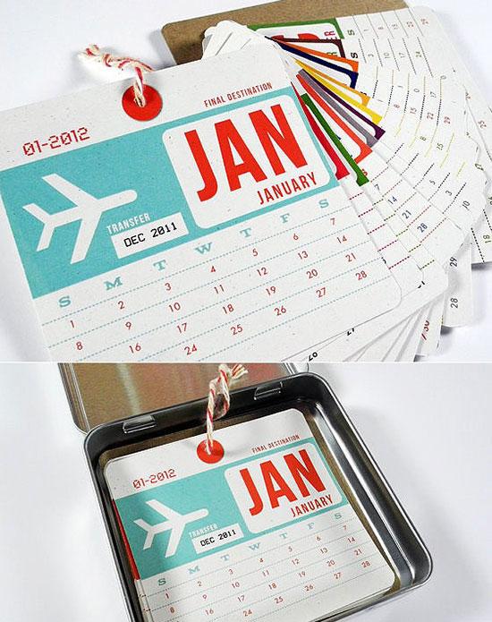 Calendar in tin can