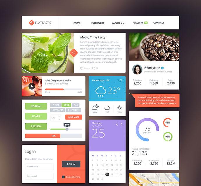 23 high quality free flat psd web ui kits web graphic design