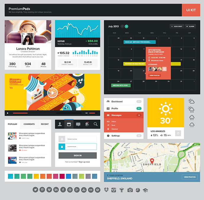 darksideadv 16 awesome free flat psd web ui kits