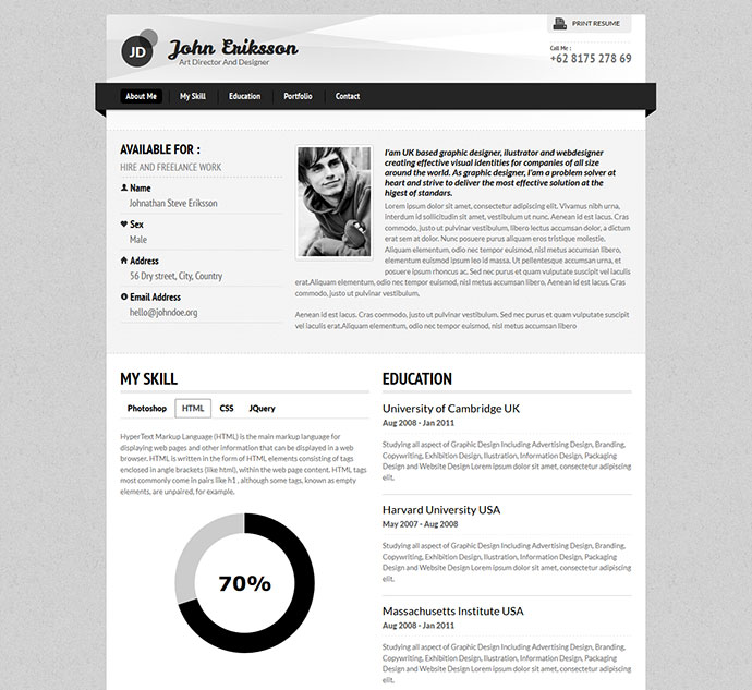 50 Professional HTML Resume Templates | Web & Graphic Design | Bashooka