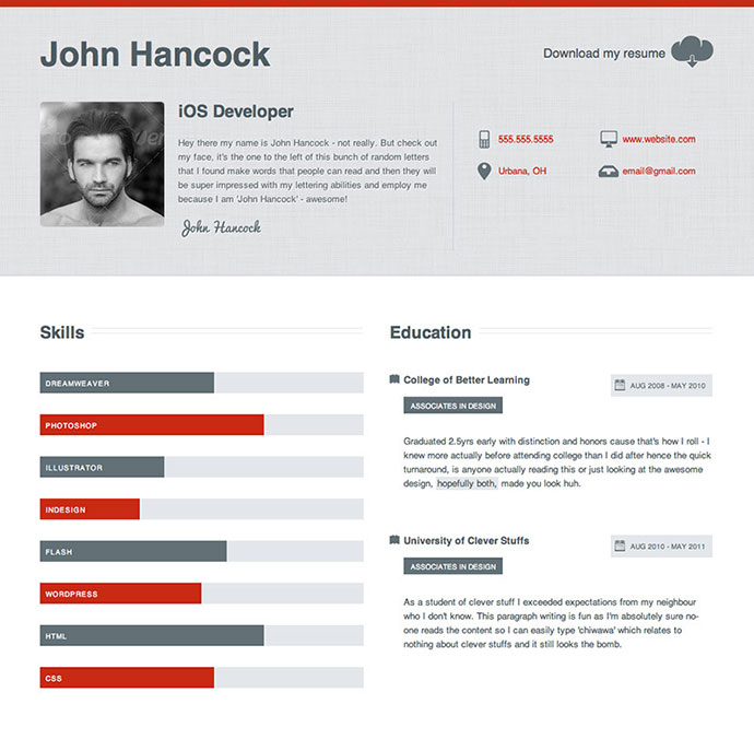 Professional Html Resume Templates  Web  Graphic Design