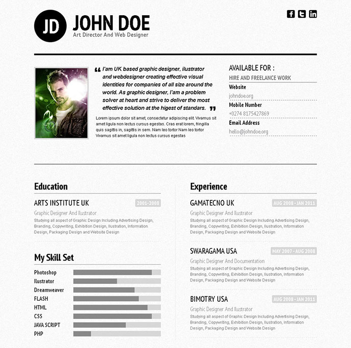 50 Professional HTML Resume Templates | Web & Graphic ...