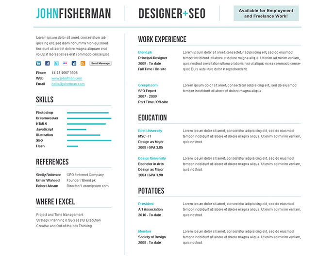 50 professional html resume templates web graphic design