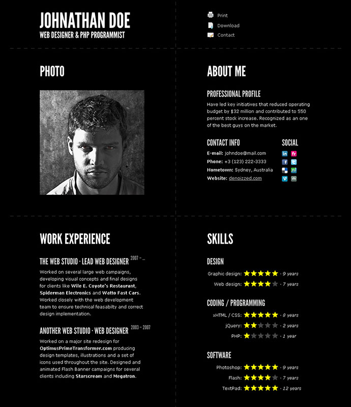 Typographic  Cool Resume Designs