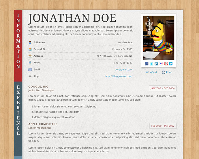 50 Professional HTML Resume Templates
