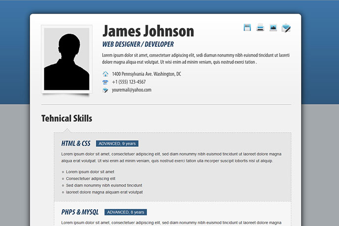fancy resume - Html Resume Examples