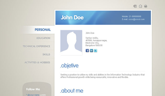 Professional Html Resume Templates  Web  Graphic Design  Bashooka