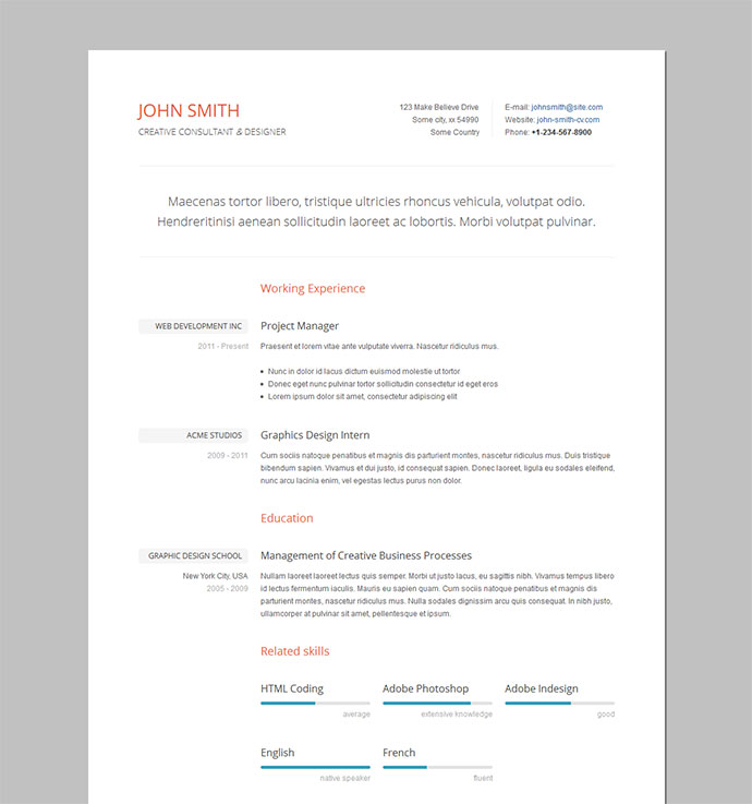 Professional Cv Resume Templates: 50 Professional HTML Resume Templates