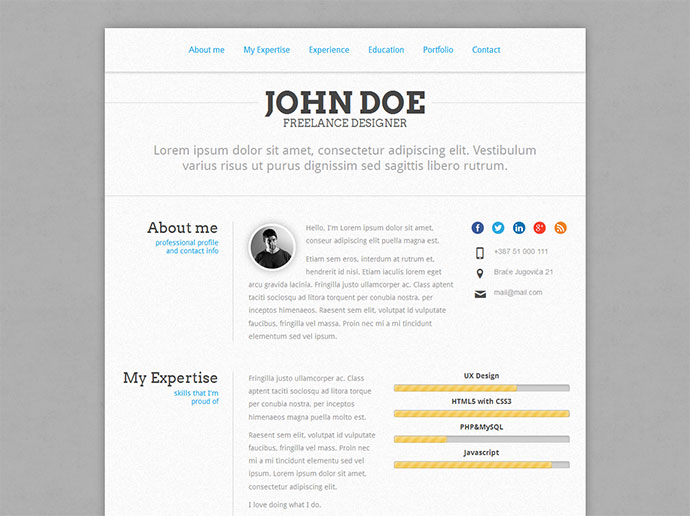 50 Professional Html Resume Templates | Web & Graphic Design