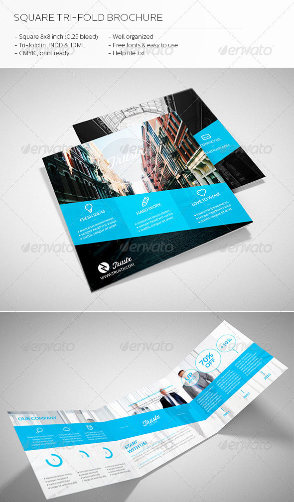 30 high quality indesign brochure templates web for Simple tri fold brochure template