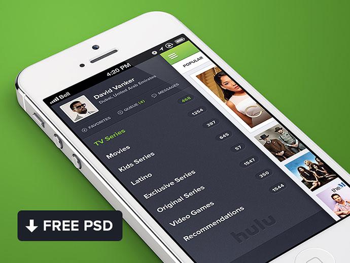 Hulu iPhone app design By Waseem Arshad