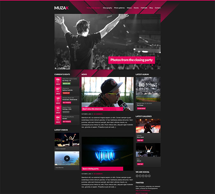 Best HTML Website Templates For Bands Musicians Web Graphic - Html site template