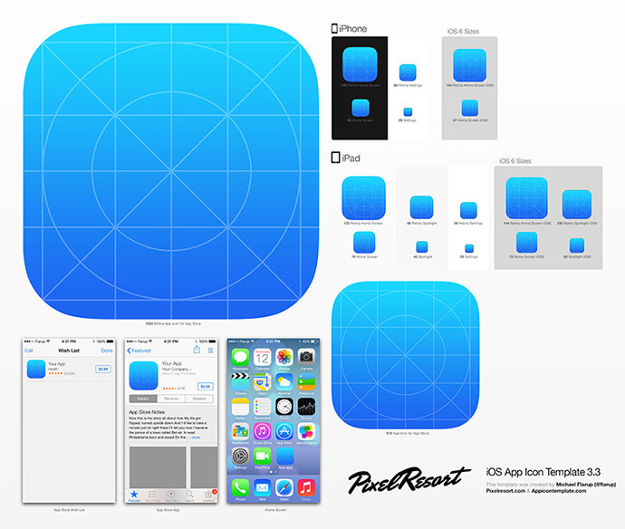 11 great ios7 design resources web graphic design for Iphone app logo template