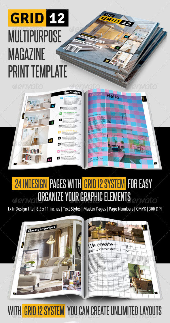 Grid 12 Multipurpose Magazine Print Template