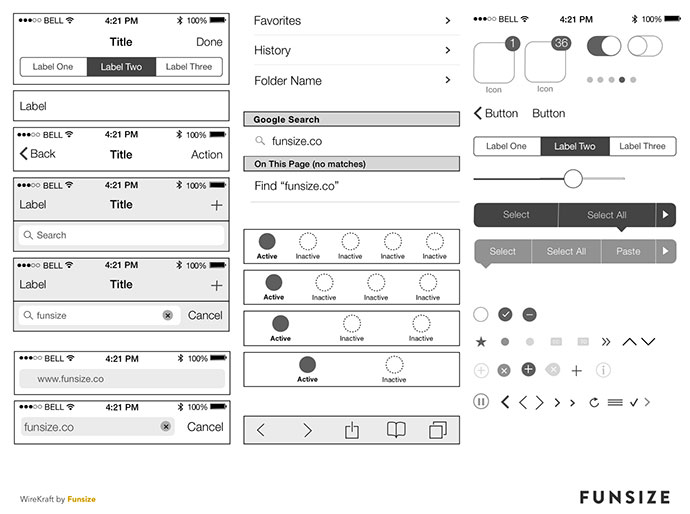 8 free ios7 wireframing kits web graphic design bashooka for Html5 wireframe template