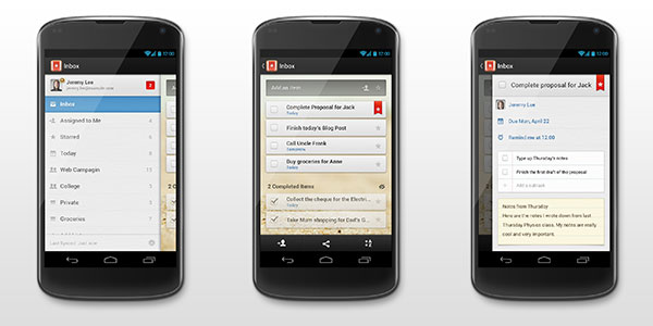 Wunderlist Android Action Bar