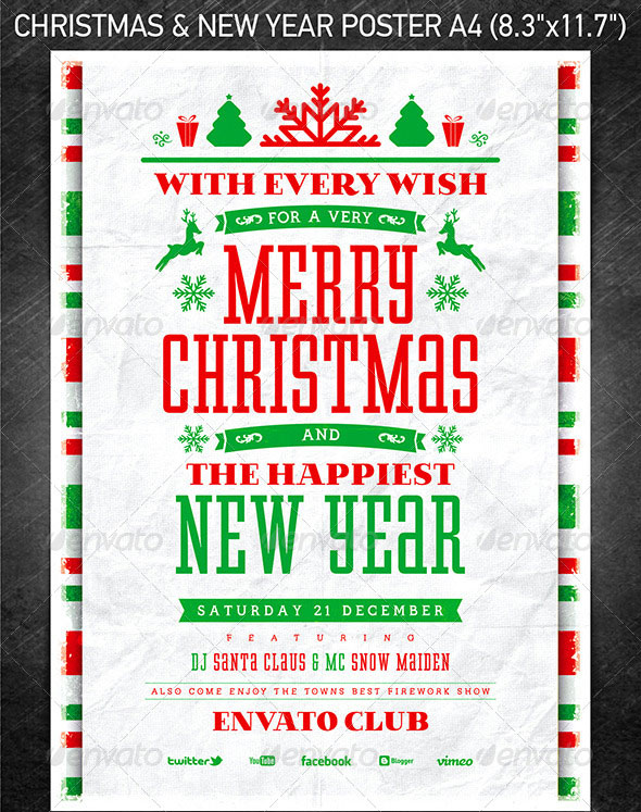 25 Christmas New Year Party Psd Flyer Templates Web Graphic