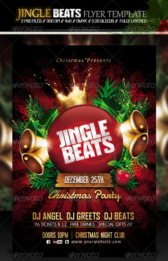 Jingle Beats Christmas Party Flyer Template