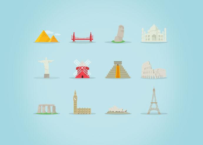 Famous Landmarks Icon Set (AI, EPS, PSD)