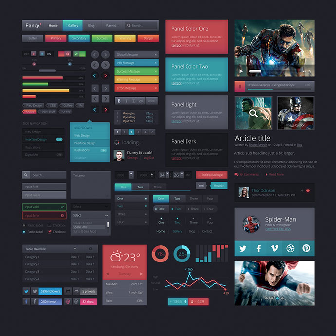 15 free modern dark psd web ui kits web graphic design bashooka