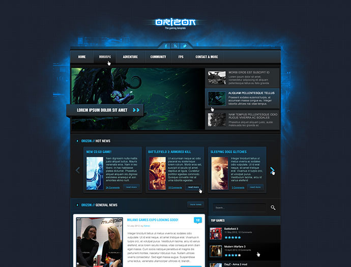 Amazing PSD Magazine Website Templates Web Graphic Design - Gaming website template