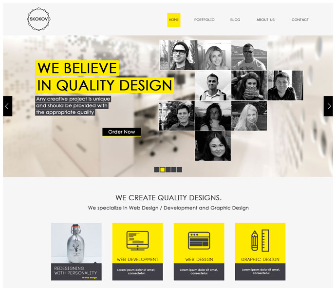 Free Website Template With Typography And Jquery Slider: 12 Free Modern PSD Website Templates