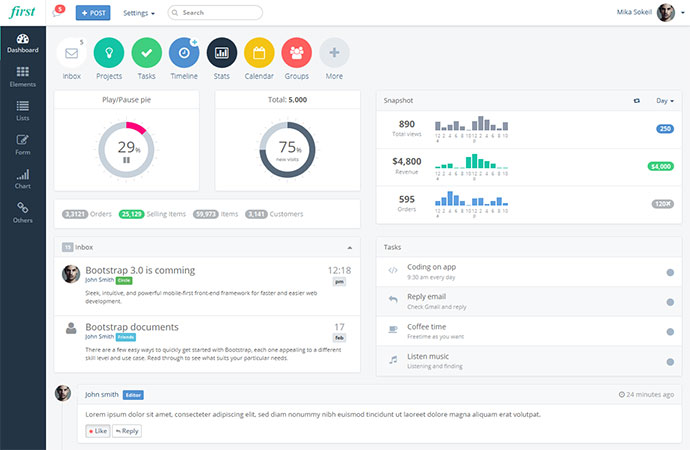 25 modern flat admin dashboard templates