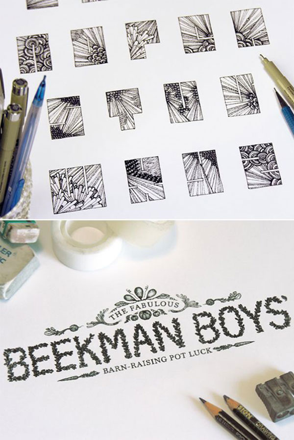 hand-drawn typography designs