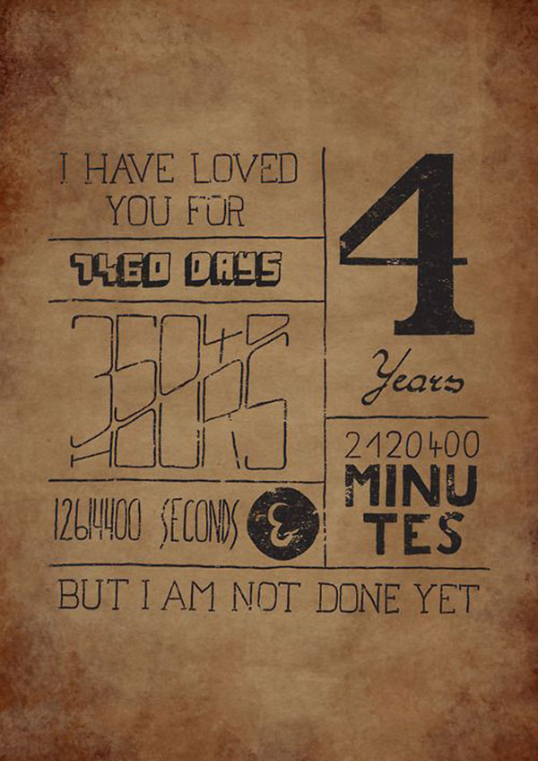 Hand drawn Typography for 4 years anniversary