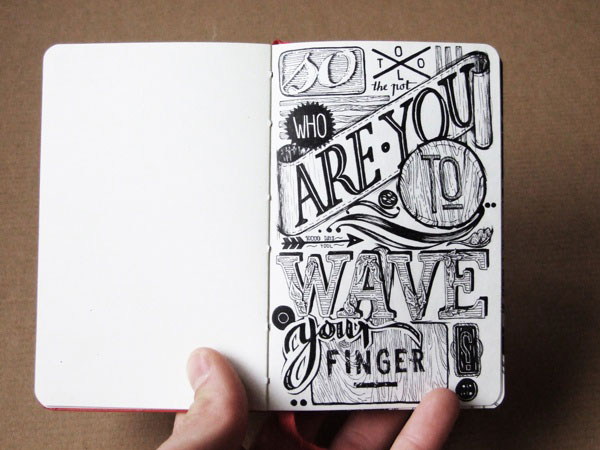 hand lettering in/on my sketchbooks