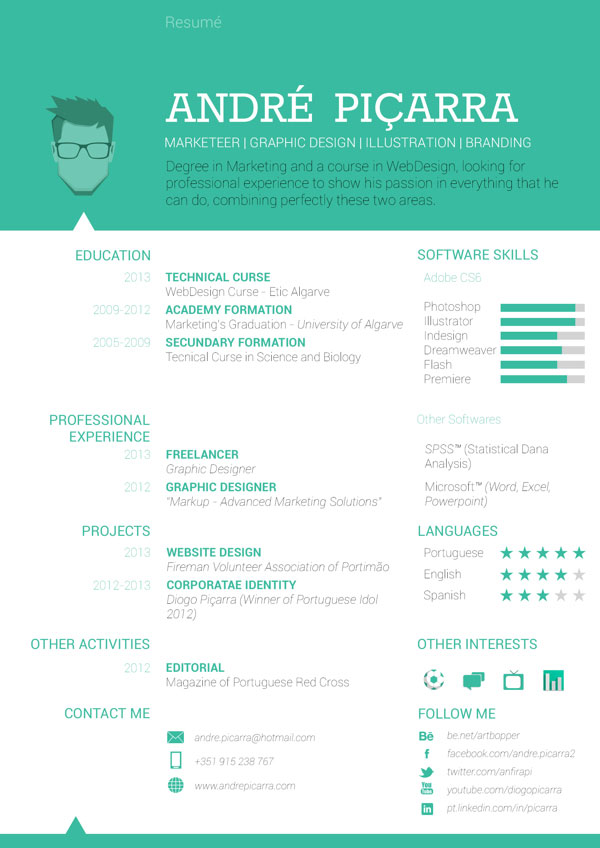40 Creative CV Resume Designs Inspiration 2014 | Web & Graphic Design ...