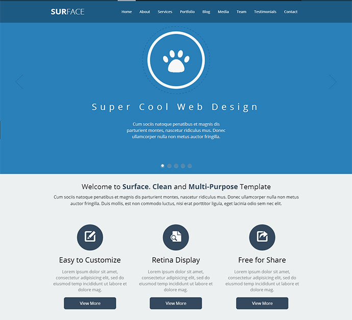 SURFACE - Creative One Page HTML Template