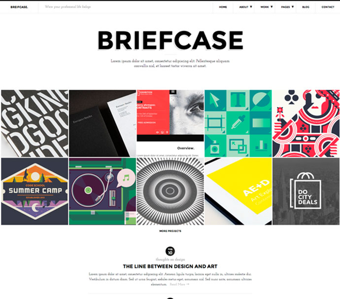 Briefcase HTML. Bold and Flat Portfolio 4 Designers
