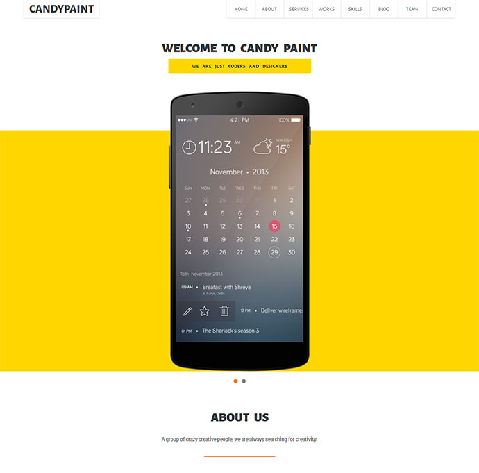 CandyPaint - One Page Responsive HTML5 Template