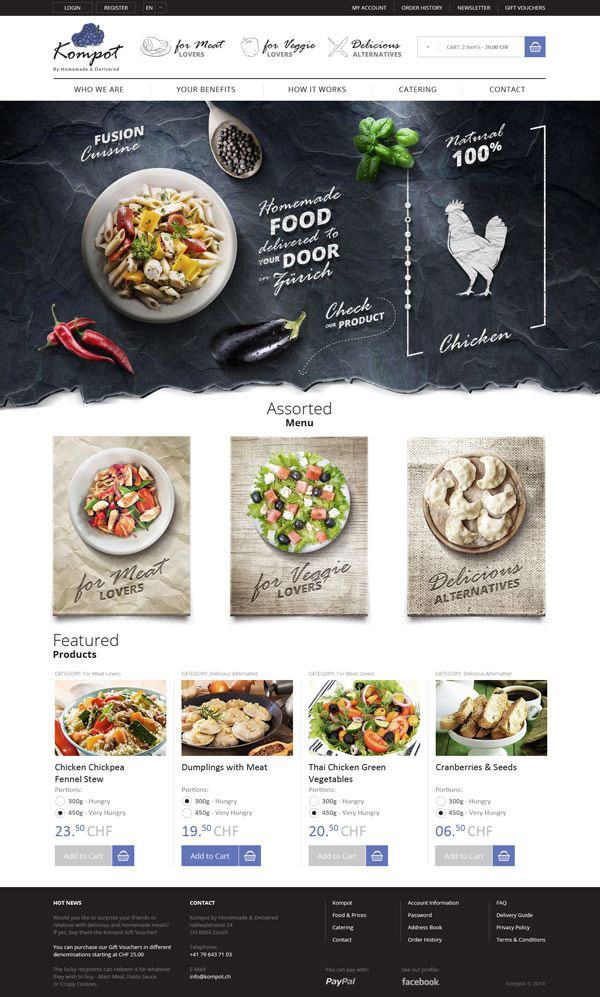 30 creative web designs concepts 2014 web graphic for Cuisine site