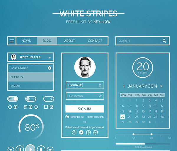 White Stripes UI Kit