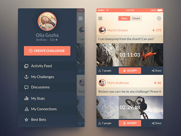 iOS7 Challenge App. PSD