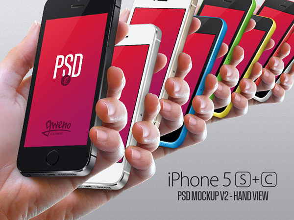 Iphone 5S & 5C Mockup - Hand PSD