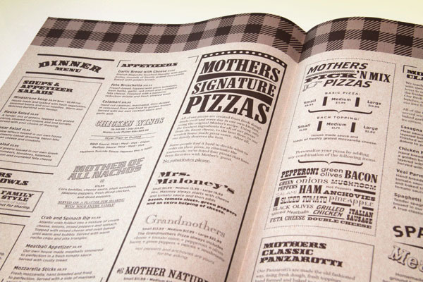 Mothers Pizza Menus